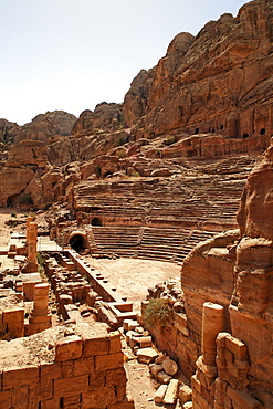 Roman Theatre, Petra, the capital city of the Nabataeans, rock city, UNESCO World Hertage Site, Wadi Musa, Hashemite Kingdom of Jordan, Orient, Middle East, Asia