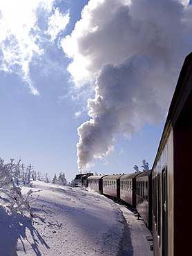 Brocken Railway on the way to Brocken Mountain, Harz, Lower Saxony, Germany, Europe