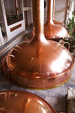 Copper boiler at the Budweiser brewery in Ceske Budejovice, Budweis, Budvar, Bohemia, Czech Republic, Europe