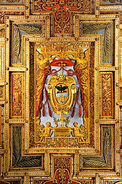 Coat of arms of Cardinal Gabrielli on the wooden coffered ceiling of the Basilica of San Sebastiano fuori le mura above the Catacombs of San Sebastiano, Via Appia Antica, Rome, Lazio, Italy, Europe