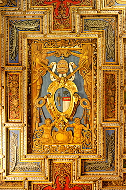 Coat of arms of Pope Gregory XVI. on the wooden coffered ceiling of the Basilica of San Sebastiano fuori le mura above the Catacombs of San Sebastiano, Via Appia Antica, Rome, Lazio, Italy, Europee