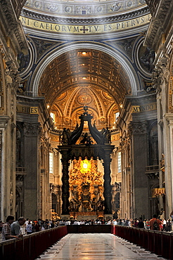 St. Peter's baldachin, Bernini's baldachin above the papal altar of St. Peter's Basilica, Vatican City, Rome, Lazio region, Italy, Europe