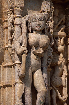 Detail of a Jain Temple in Ranakpur, Rajasthan, India, Asia