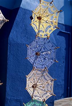 Sale of little lace parasols, Burano, near Venice, Veneto, Italy, Europe