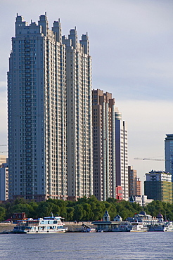 The skyline of Harbin with the Songhua River, Heilongjiang, China, Asia