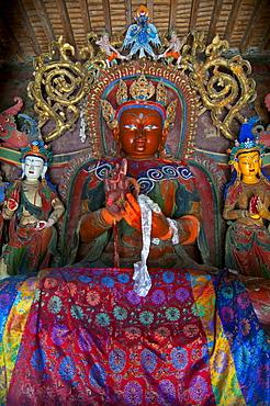 Buddha in the Kumbum stupa in the monastery of Gyantse, Tibet, Asia