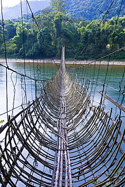 Extremely long hanging suspension bridge made of bamboo, Along, Arunachal Pradesh, North East India, India, Asia