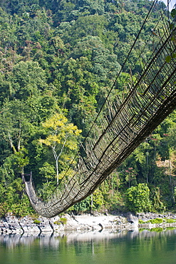 Extremely long hanging suspension bridge made of bamboo, Along, Arunachal Pradesh, North East India, India, Asia