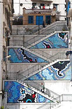 Painted stairs in Algiers, Algeria, Africa
