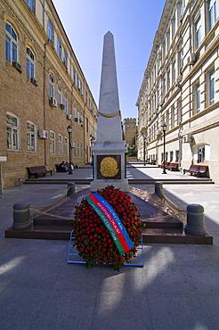 Memorial square with obelisk, Baku, Azerbaijan, Caucasus, Middle East