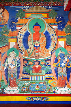 Tibetan Buddhism, old wall painting in the assembly hall, representation of Buddha, Chemre Gompa Monastery near Leh, Ladakh district, Jammu and Kashmir, India, South Asia, Asia