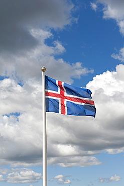 Icelandic National Flag, fiingvellir, Thingvellir, Golden Circle, Iceland, Scandinavia, Northern Europe, Europe