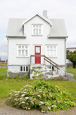 Gray house made of corrugated iron in Hoefn, Iceland, Scandinavia, Northern Europe, Europe
