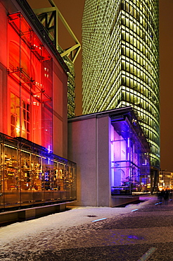 Installation of a Baroque facade in the Sony Center with Bahntower skyscraper, Potsdamer Platz, Berlin, Germany, Europe
