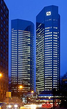 Headquarters of Deutsche Bank AG by night, Frankfurt am Main, Hesse, Germany, Europe