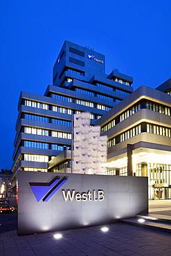 Night shot, Westdeutsche Landesbank, WestLB headquarters, head office, logo on a wall, Duesseldorf, North Rhine-Westphalia, Germany, Europe