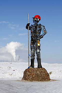 Iron man, sculpture at a mine, Darkhan, Mongolia, Asia