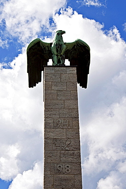 Siemens memorial, bronze eagle with stele to commemorate the fallen employees of Siemens in the First and Second World War, outside the Siemens building, Berlin, Germany, Europe