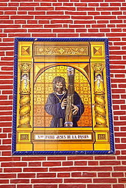 Tile mural of Jesus on the Iglesia de los Martires or Church of Martyrs, Malaga, Andalusia, Spain, Europe