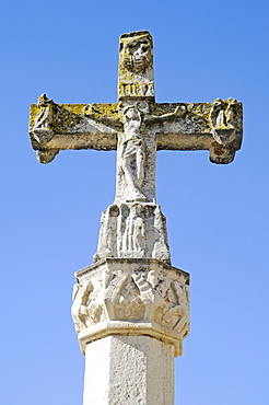 Cross, monument to the pilgrims, Camino de Santiago, Plaza San Marcos, Leon, province of Castilla y Leon, Castile and Leon, Spain, Europe