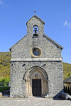 Church Real Colegiata de Roncesvalles, pilgrimage station, Camino de Santiago or the Way of St James, Roncesvalles, Orreaga, Pyrenees, Navarre, Spain, Europe