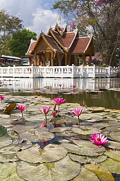 Thai temple Wat Nam Hoo, surrounded by water with lotus flowers near Pai, Thailand, Asia