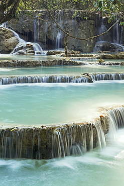 Pool and waterfall in the Tat Kuang Si waterfall system near Luang Prabang in Laos, Southeast Asia