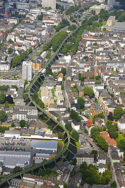 Aerial view, Wuppertal suspension railway, Wupper river, Wuppertal, Ruhr area, North Rhine-Westphalia, Germany, Europe