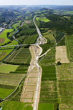 Aerial view, extension of the A46 motorway, highway expansion, end of the motorway, A445 motorway near Bestwig, Meschede, North Rhine-Westphalia, Germany, Europe