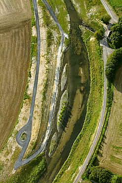 Aerial view, Seseke, tributary of the lip, SesekeKunst, landscape in the river, Thomas Stricker, river bed, artificial island, Luenen, Ruhrgebiet region, North Rhine-Westphalia, Germany, Europe