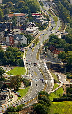 Aerial view, main road, six lane highway, road construction, Boulevard Martin-Luther-Strasse highway, Hattingen, Ruhr area, North Rhine-Westphalia, Germany, Europe