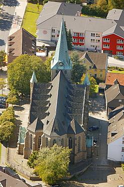 Aerial view, St. Mauritius Cathedral, Niederwenigern, Hattingen, Ruhr area, North Rhine-Westphalia, Germany, Europe
