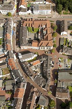 Aerial view, Lutheran cathedral, historic town centre, Dinslaken, Ruhr area, Niederrhein, North Rhine-Westphalia, Germany, Europe