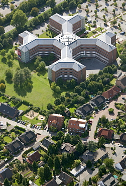 Aerial view, cross-shaped office building, Haskel Hochdrucksysteme high pressure systems GmbH, Wesel, Ruhrgebiet region, Niederrhein, North Rhine-Westphalia, Germany, Europe