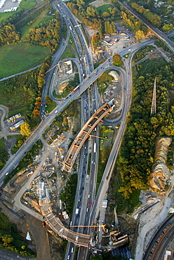 Aerial view, bridge construction of the A40 highway, traffic jams, A40 Donetsk-ring bridge works, Bochum, Ruhr Area, North Rhine-Westphalia, Germany, Europe