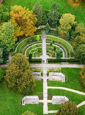 Aerial view, cemetery, park, Haspe, Hagen, Ruhrgebiet region, North Rhine-Westphalia, Germany, Europe