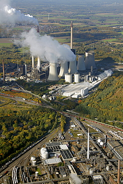 Aerial view, EON STEAG coal-fired power plant in Gelsenkirchen-Scholven, Ruhr Area, North Rhine-Westphalia, Germany, Europe