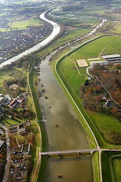 Aerial view, Dorsten, Wesel-Datteln-Kanal cannel, canal bridges, Lippe river, floods, dyke, Ruhrgebiet region, North Rhine-Westphalia, Germany, Europe