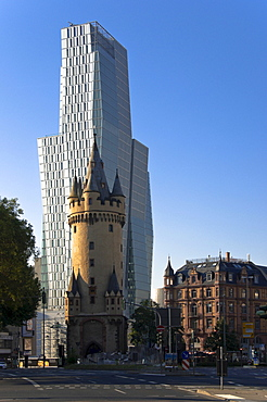 Eschenheimer Turm skyscrape in front of the Palais Quartier at the Thurn and Taxis square in Frankfurt am Main, Frankfurt, Hesse, Germany, Europe