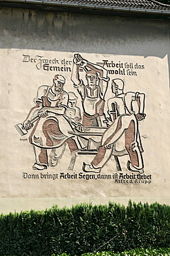 1940's Alfred Krupp wartime inscription on house wall in Essen, North Rhine-Westphalia, Germany, Europe