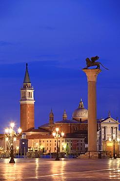 Church of San Giorgio Maggiore and lion of Saint Mark, Piazza San Marco or St. Mark's Square, Venice, Veneto, Italy, Europe