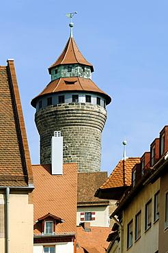 Sinnwellturm tower, Kaiserburg Imperial Castle Nuremberg, Middle Franconia, Bavaria, Germany, Europe