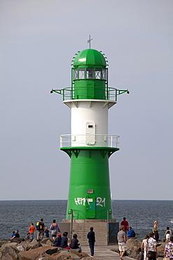 Lighthouse at the harbour entrance, Warnemuende district, Rostock, Mecklenburg-Western Pomerania, Germany, Europe