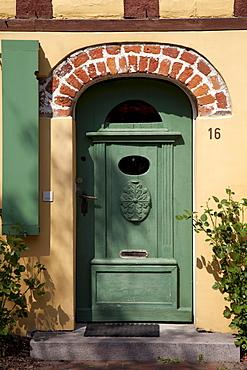 Entrance, half-timbered house, Stralsund, UNESCO World Heritage Site, Mecklenburg-Western Pomerania, Germany, Europe