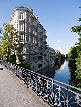 Art nouveau building on Isebek canal in Eppendorf, Hamburg, Germany, Europe