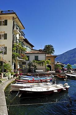 Old harbour of Limone sul Garda, Lake Garda, Lombardia, Italy, Europe