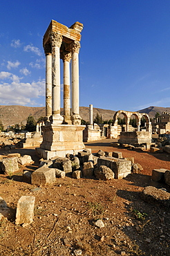 Antique Umayyad ruins, Tetrapylon, at the archeological site of Anjar, Aanjar, Unesco World Heritage Site, Bekaa Valley, Lebanon, Middle East, West Asia