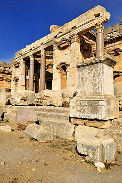 Ancient ruins in the archeological site of Baalbek, Unesco World Heritage Site, Bekaa Valley, Lebanon, Middle East, West Asia