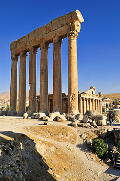Antique Jupiter temple ruin at the archeological site of Baalbek, Unesco World Heritage Site, Bekaa Valley, Lebanon, Middle East, West Asia