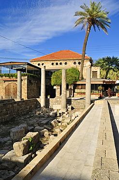 Antique coloumns in the historic town of Byblos, Unesco World Heritage Site, Jbail, Jbeil, Lebanon, Middle East, West Asia